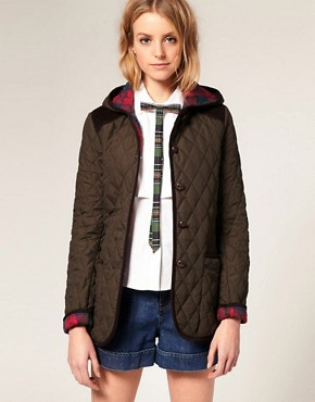 Image 1 ofASOS Quilted Jacket With Hood And Check Lining