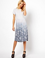 ASOS Smock Dress In Floral Dip Dye