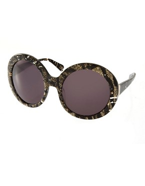 Image 1 ofDVF Monochrome Round Sunglasses
