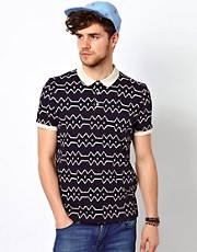ASOS Polo With Batik Print Stripe