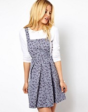 ASOS Pinafore Dress In Floral Jacquard