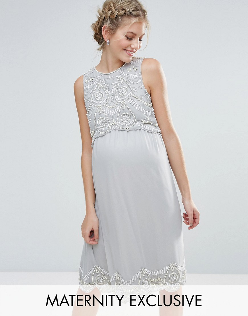 Maya Maternity Embellished Scallop Bodice And Hem Midi Dress - Grey