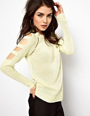 ASOS Open Shoulder Jumper In Washed Colour