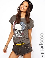 ASOS PETITE Exclusive Wild At Heart T-Shirt With Studded Sleeves