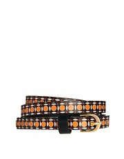 ASOS Geo Print Metal Keeper Super Skinny Waist Belt