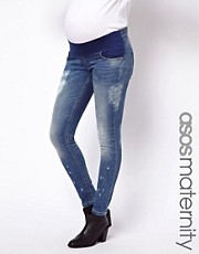 ASOS Maternity Ridley Skinny Jeans In Vintage Wash With Bleach Splash