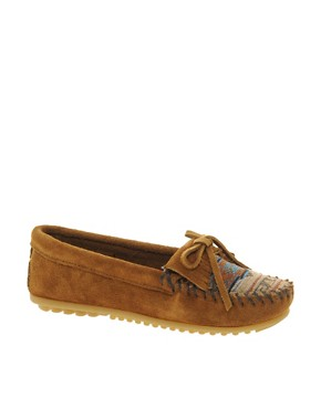 Image 1 ofMinnetonka El Paso II Brown Suede Moc Shoes