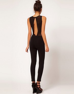 Image 2 ofASOS PETITE Exclusive Unitard With Flocked Bodice