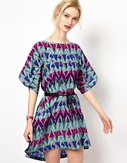 See by Chloe Silk Dress in Phoenix Print with Belt