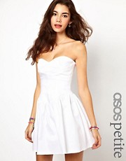 ASOS PETITE Exclusive Strapless Skater Dress With Waist Detail