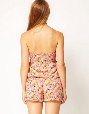 Image 2 ofRiver Island Ditsy Print Bandeau Playsuit