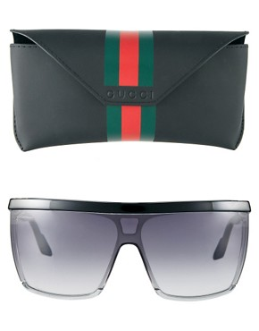 Image 2 ofGucci Black And Grey Visor Sunglasses