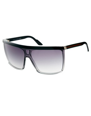 Image 1 ofGucci Black And Grey Visor Sunglasses