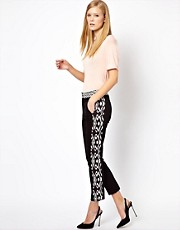 Karen Millen Tailored Trousers with Multi Colour Block Printed Inserts