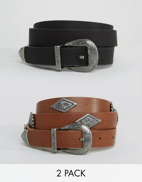 ASOS 2 Pack Studded And Plain Western Belt