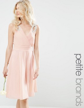 TFNC Petite WEDDING Prom Midi Dress With Embellished Shoulders