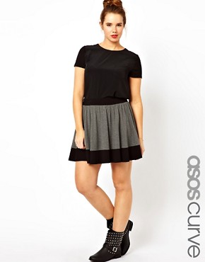 Image 1 ofASOS CURVE Jersey Skater Skirt In Colourblock