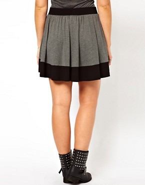 Image 2 ofASOS CURVE Jersey Skater Skirt In Colourblock