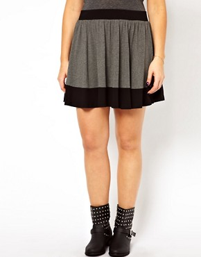 Image 4 ofASOS CURVE Jersey Skater Skirt In Colourblock