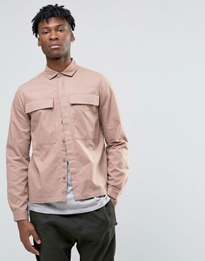 ASOS Cropped Overshirt In Pink With Oversized Pockets