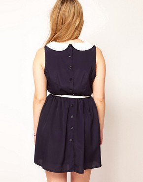 Image 2 ofASOS CURVE Exclusive Peter Pan Dress With Belt