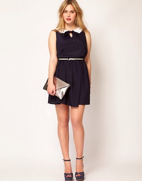 Image 4 ofASOS CURVE Exclusive Peter Pan Dress With Belt