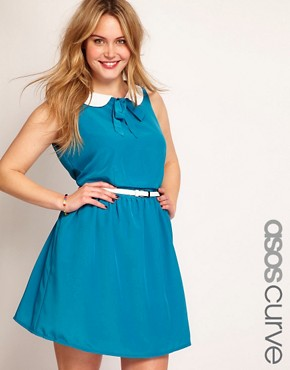 Image 1 ofASOS CURVE Exclusive Peter Pan Dress With Belt