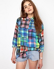 Equipment Signature Silk Shirt in Colour Wheel Check