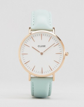 Cluse La Bohème Rose Gold & Mint Leather Watch CL18021