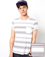 ASOS Stripe T-Shirt With Aztec Print