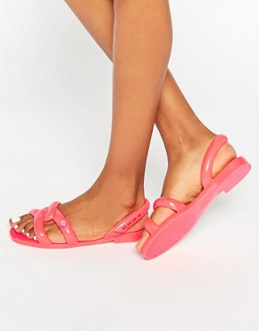 Melissa + Jeremy Scott Tube Coral Pop Flat Sandals