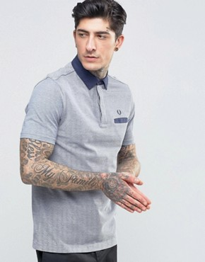 Fred Perry Polo Shirt With Woven Collar And Pocket In Dark Carbon Oxford