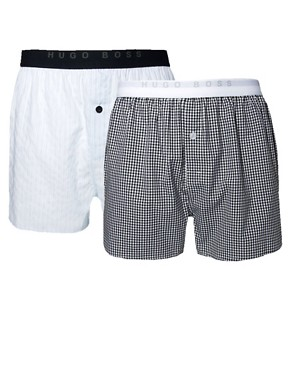 Image 1 ofBoss Black 2 Pack Woven Boxers