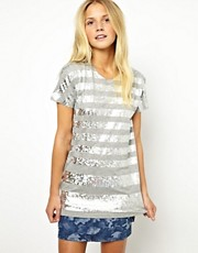 ASOS T-Shirt with Hologram Stripes in Foil