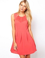Oasis Skater Dress With Pleat Detail