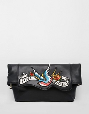 Love Moschino Clutch with Swallow Bird Print