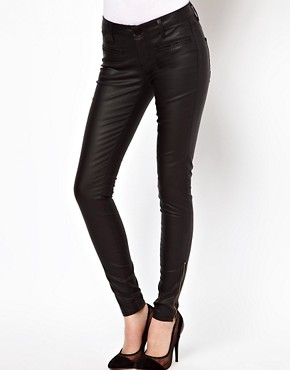 Image 1 ofASOS Leather Look Skinny Jeans with Ankle Zip Detail