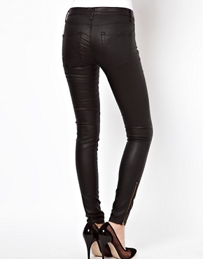Image 2 ofASOS Leather Look Skinny Jeans with Ankle Zip Detail