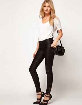Image 4 ofASOS Leather Look Skinny Jeans with Ankle Zip Detail