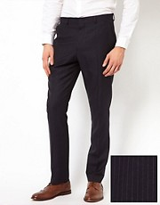 Pantalones de traje de corte slim con rayas finas de ASOS