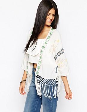 Hazel Embroidered Fringed Kimono