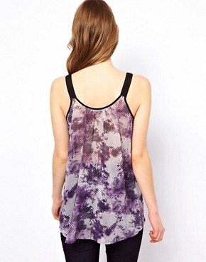 Image 2 ofOasis Zip Front Cami Top In Tye Dye Print