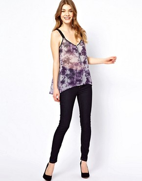 Image 4 ofOasis Zip Front Cami Top In Tye Dye Print