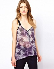 Oasis Zip Front Cami Top In Tye Dye Print