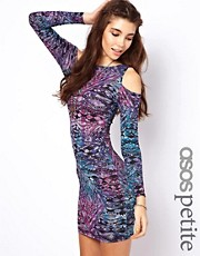 ASOS PETITE Exclusive Bodycon Dress in Aztec Print With Cold Shoulder