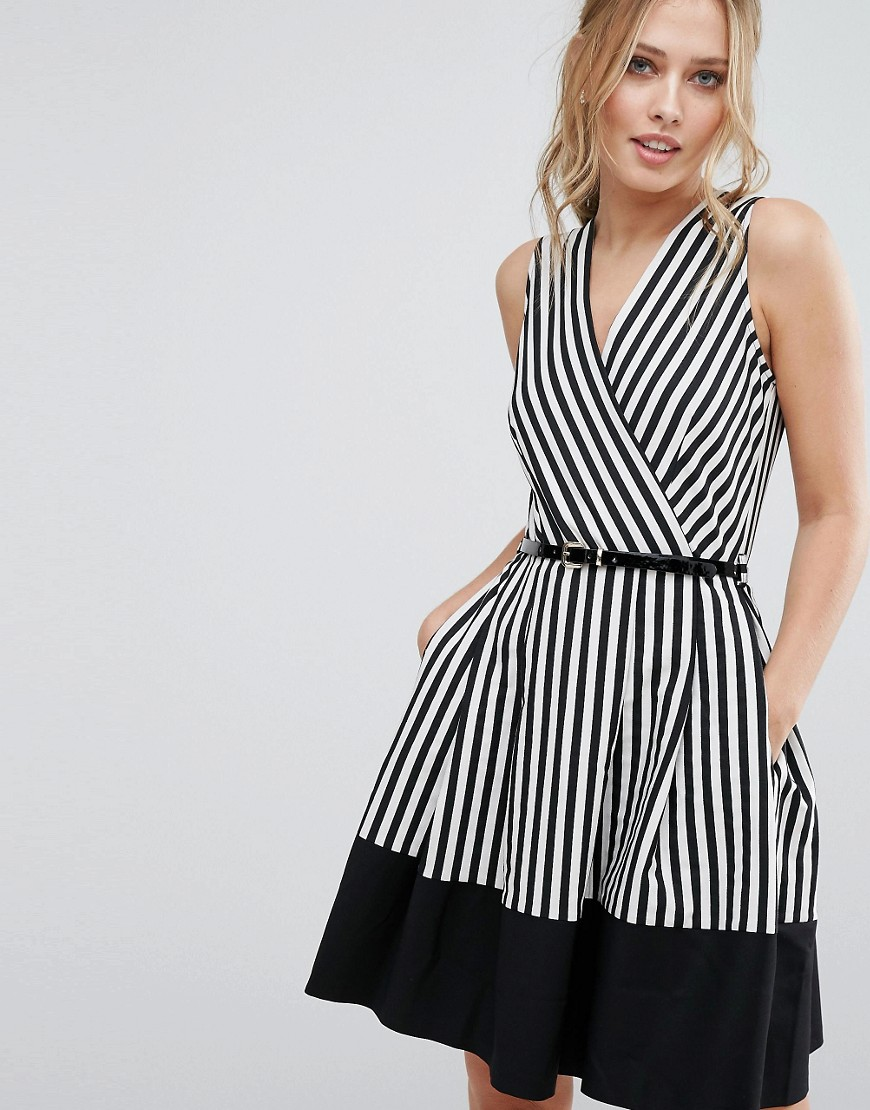 Closet Wrap Front Skater Dress in Stripe with Belt - Multi