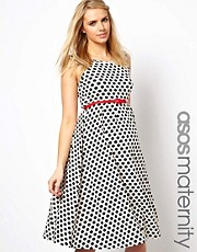 ASOS Maternity Exclusive Midi Skater Dress In Spot Print With Belt
