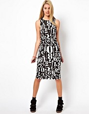 Glamorous Midi Dress In Number Print