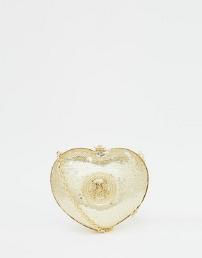 Love Moschino Sequin Heart Clutch in Gold