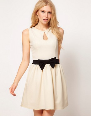 Image 1 ofPaprika Contrast Bow Princess Skater Dress